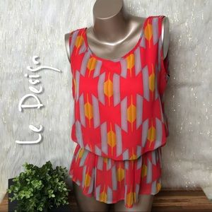 Le Design | Printed Peplum Sleeveless Top
